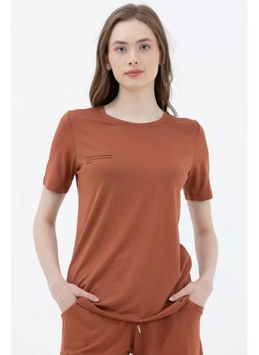 Sementa Basic Yazı Baskılı Tshirt - Taba Taba